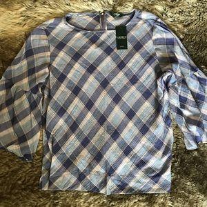 NWT Ralph Lauren purple/blue bell sleeve top 3X